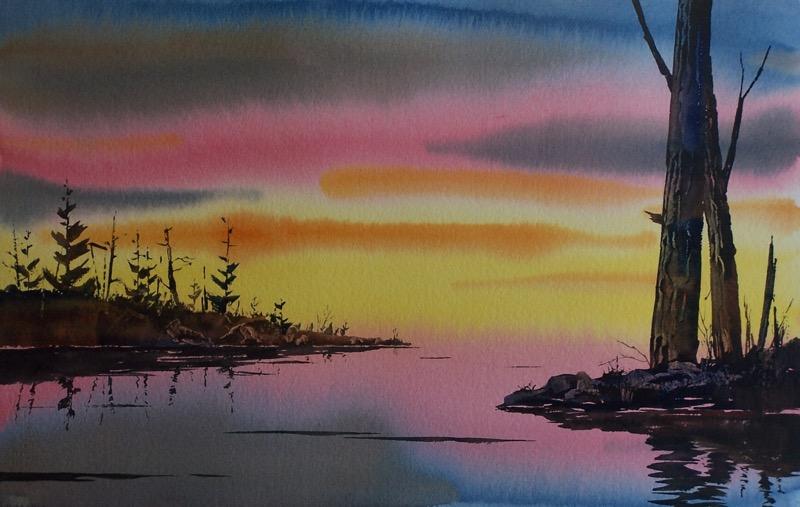 Seascape Landscape Swamp Muskeg Sunset Original Watercolor Painting Oberst